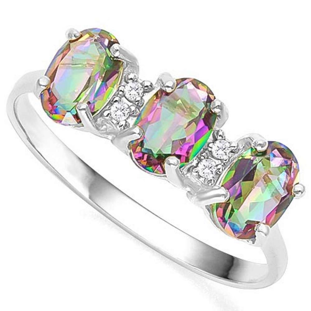 1.15 CTW MYSTIC GEMSTONE & GENUINE DIAMOND (4 PCS) 10KT SOLID WHITE GOLD RING #IRS50946