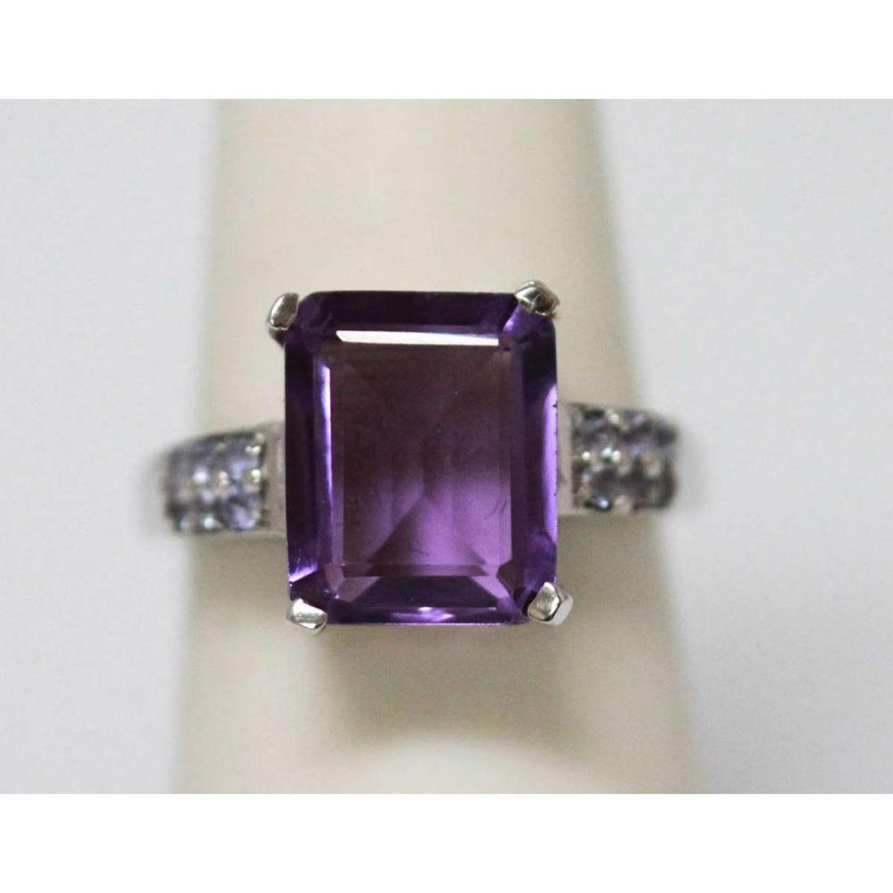 6.05 CTW AMETHYST & TANZANITE RING .925 STERLING SILVER #IRS47303
