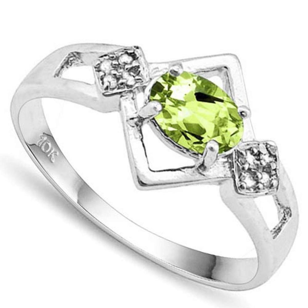 0.76 CTW GENUINE PERIDOT & GENUINE DIAMOND (8 PCS) 10KT SOLID WHITE GOLD RING #IRS57280