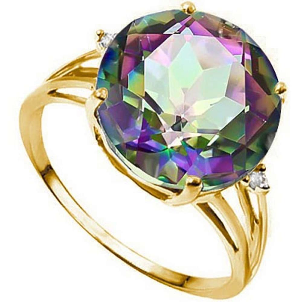 6.15 CTW GENUINE MYSTIC GEMSTONE & GENUINE DIAMOND (2 PCS) 10KT SOLID YELLOW GOLD RING #IRS57293