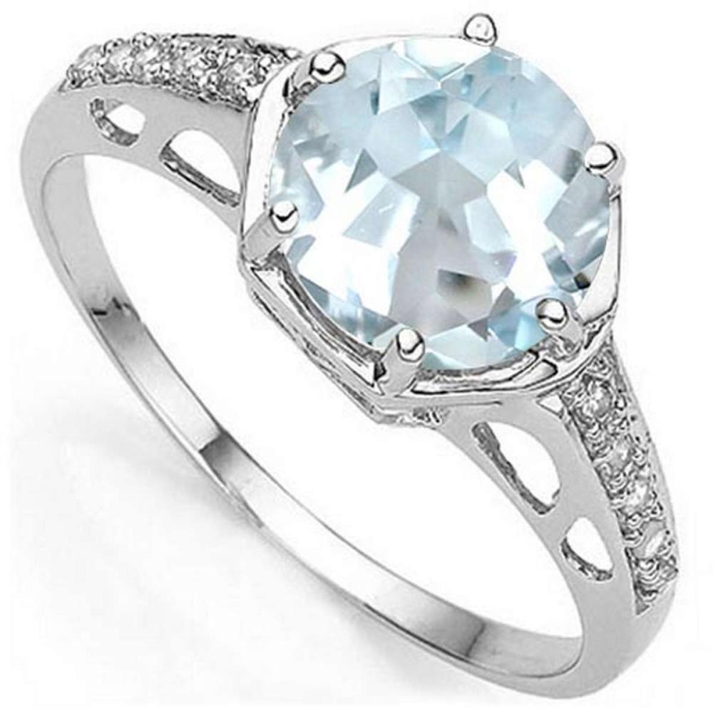 1.7 CTW GENUINE AQUAMARINE & GENUINE DIAMOND (10 PCS) 10KT SOLID WHITE GOLD RING #IRS57274