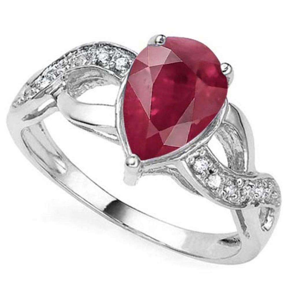 2.05 CTW GENUINE RUBY & GENUINE DIAMOND (12 PCS) 10KT SOLID WHITE GOLD RING #IRS57300