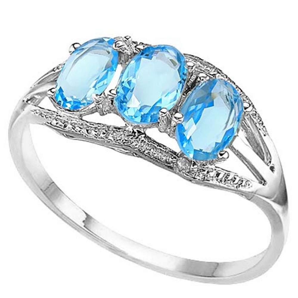 1.45 CTW GENUINE SKY BLUE TOPAZ & GENUINE DIAMOND (2 PCS) 10KT SOLID WHITE GOLD RING #IRS50944