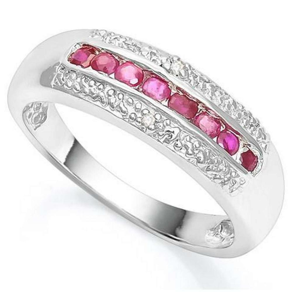 2/5 CT RUBY  DIAMOND 925 STERLING SILVER RING #IRS36339