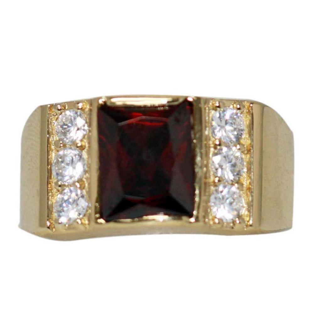 14K GOLD PLATED CZ AND RED CZ RING #IRS47175