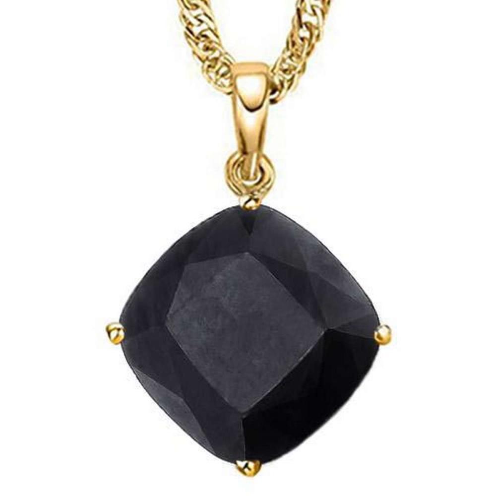 1.25 CTW BLACK SAPPHIRE 10K SOLID YELLOW GOLD CUSHION SHAPE PENDANT #IRS36976