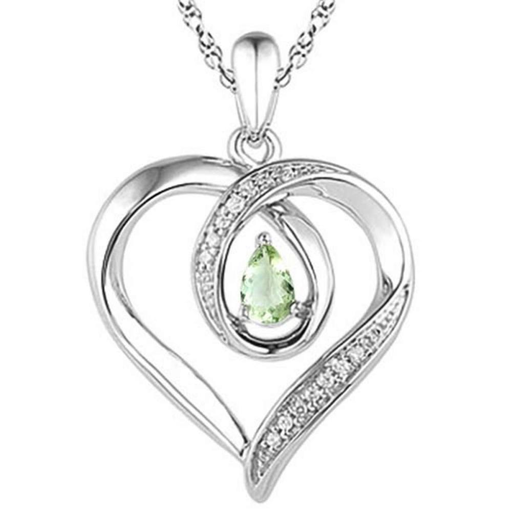 0.36 CARAT GREEN AMETHYST & CZ 14KT SOLID WHITE GOLD PENDANT #IRS77116