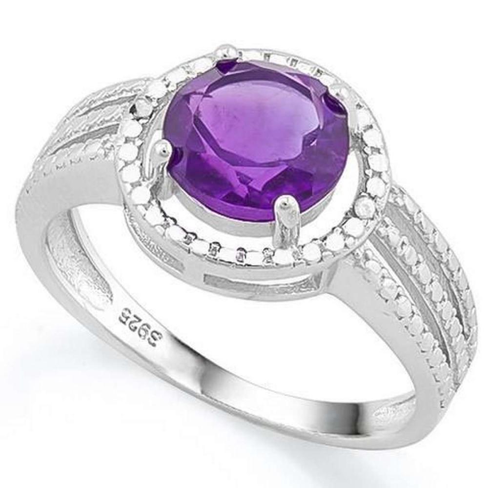 1 4/5 CARAT AMETHYST  DIAMOND 925 STERLING SILVER RING #IRS36279