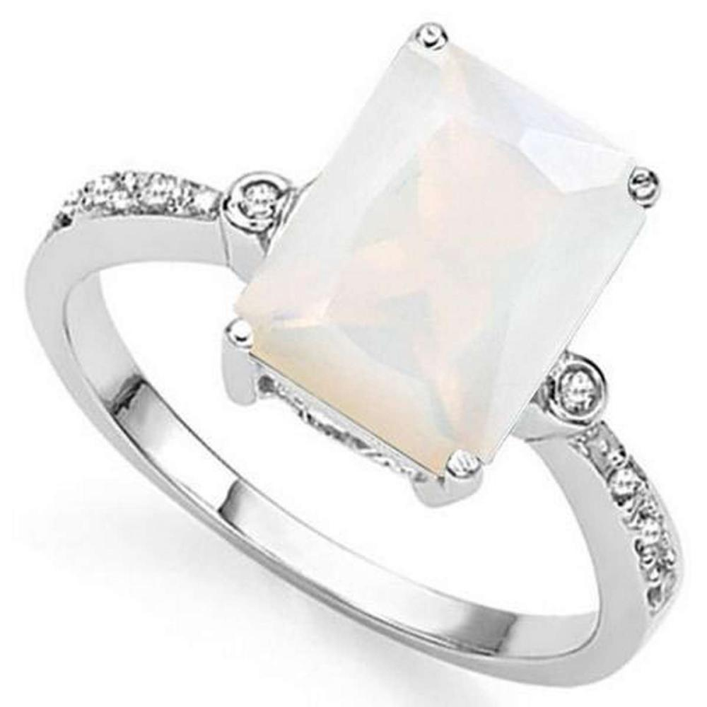 3 CT CREATED FIRE OPAL  DIAMOND 925 STERLING SILVER RING #IRS36322