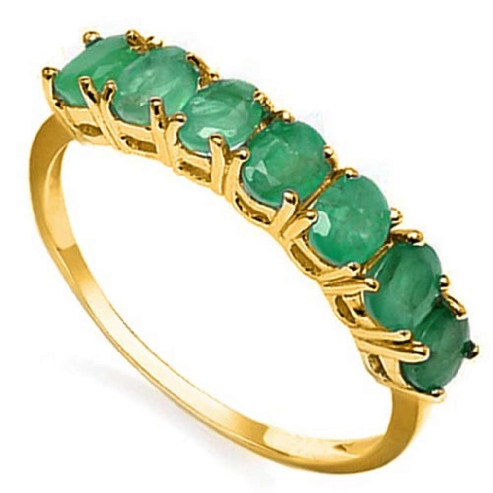 1.1 CTW GENUINE EMERALD 10KT SOLID YELLOW GOLD RING #IRS57312