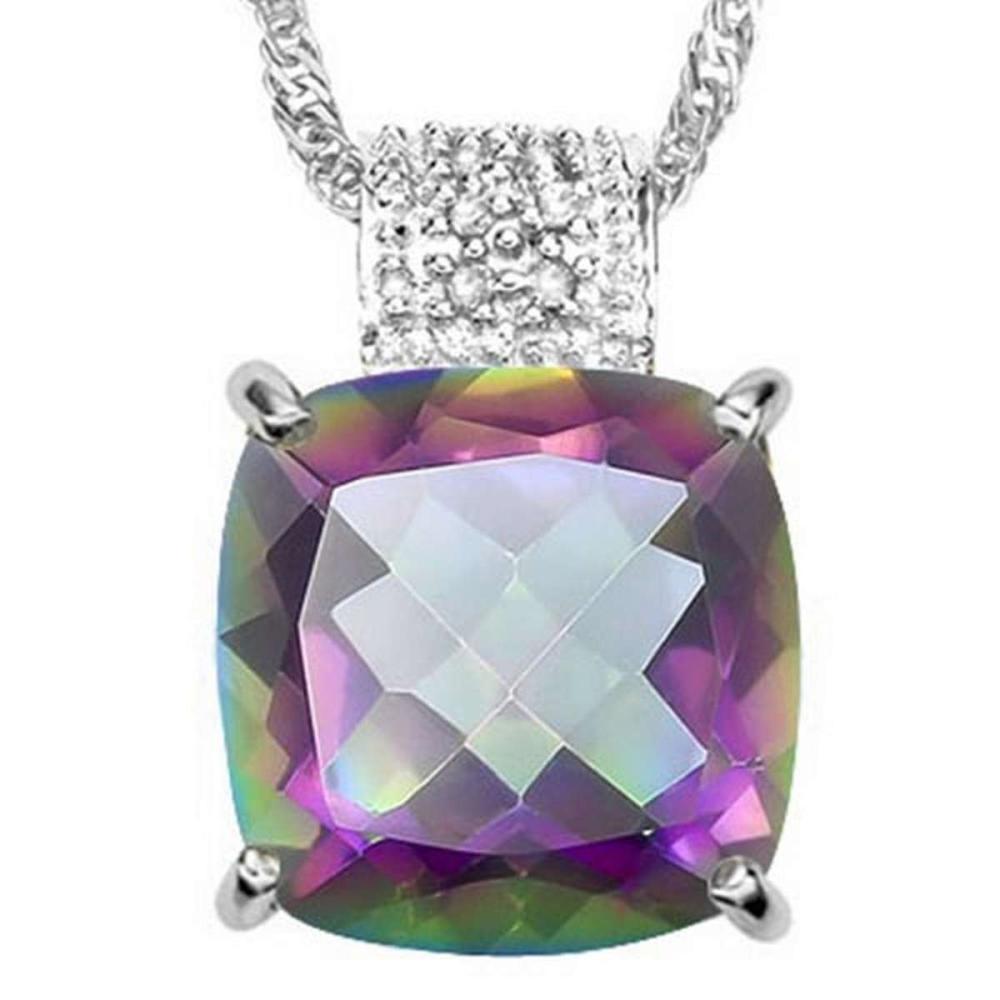6.0 CTW MYSTIC GEMSTONE & GENUINE DIAMOND (8 PCS) 10KT SOLID WHITE GOLD PENDANT #IRS57256