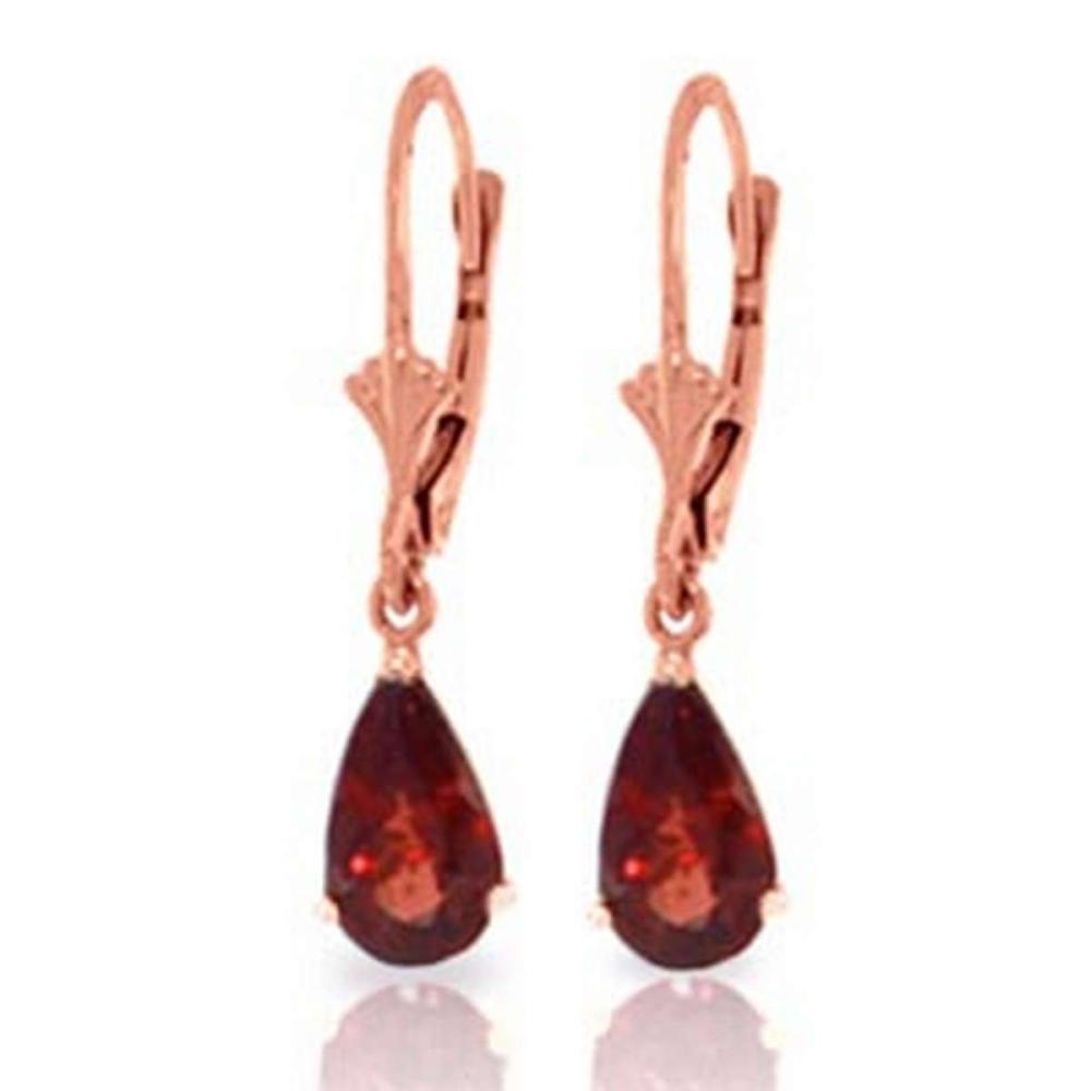 2.45 CTW 14K Solid Rose Gold Leverback Earrings Garnet #IRS91653