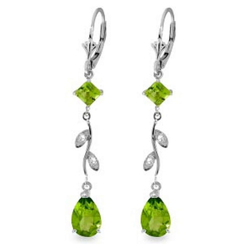 3.97 Carat 14K Solid White Gold Chandelier Earrings Diamond Peridot #IRS91672