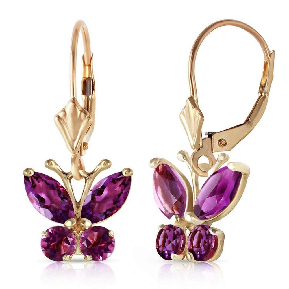1.24 Carat 14K Solid Gold Butterfly Earrings Natural Amethyst #IRS92057
