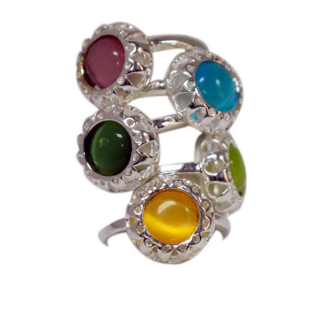 Deal of The day Mix of Muti Color Ring Set of 5 .925 St #IRS50293
