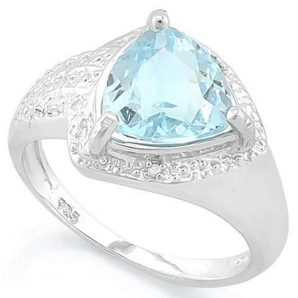 2 4/5 CARAT BABY SWISS BLUE TOPAZ  DIAMOND 925 STERLING SILVER RING #IRS36264