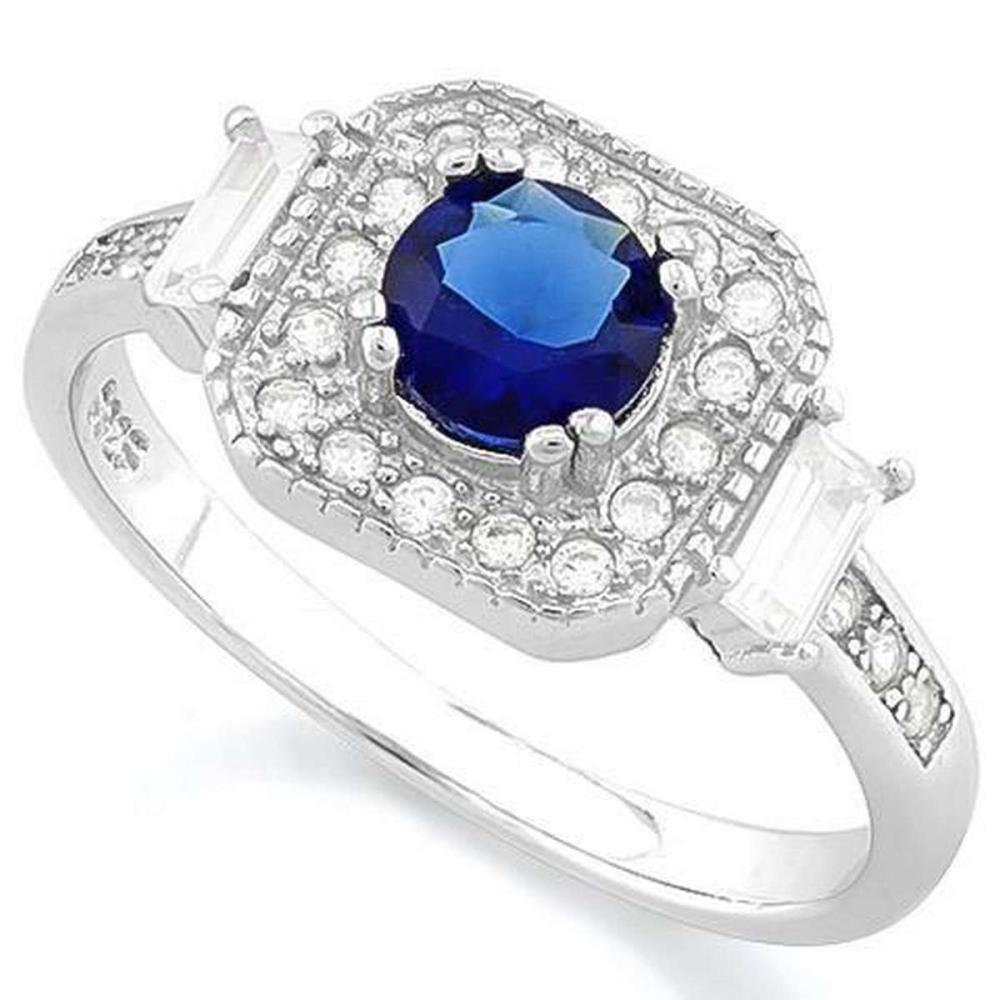 3/5 CARAT CREATED BLUE SAPPHIRE  1/4 CARAT (24 PCS) FLAWLESS CREATED DIAMOND 925 STERLING SILVER HALO RING #IRS36261