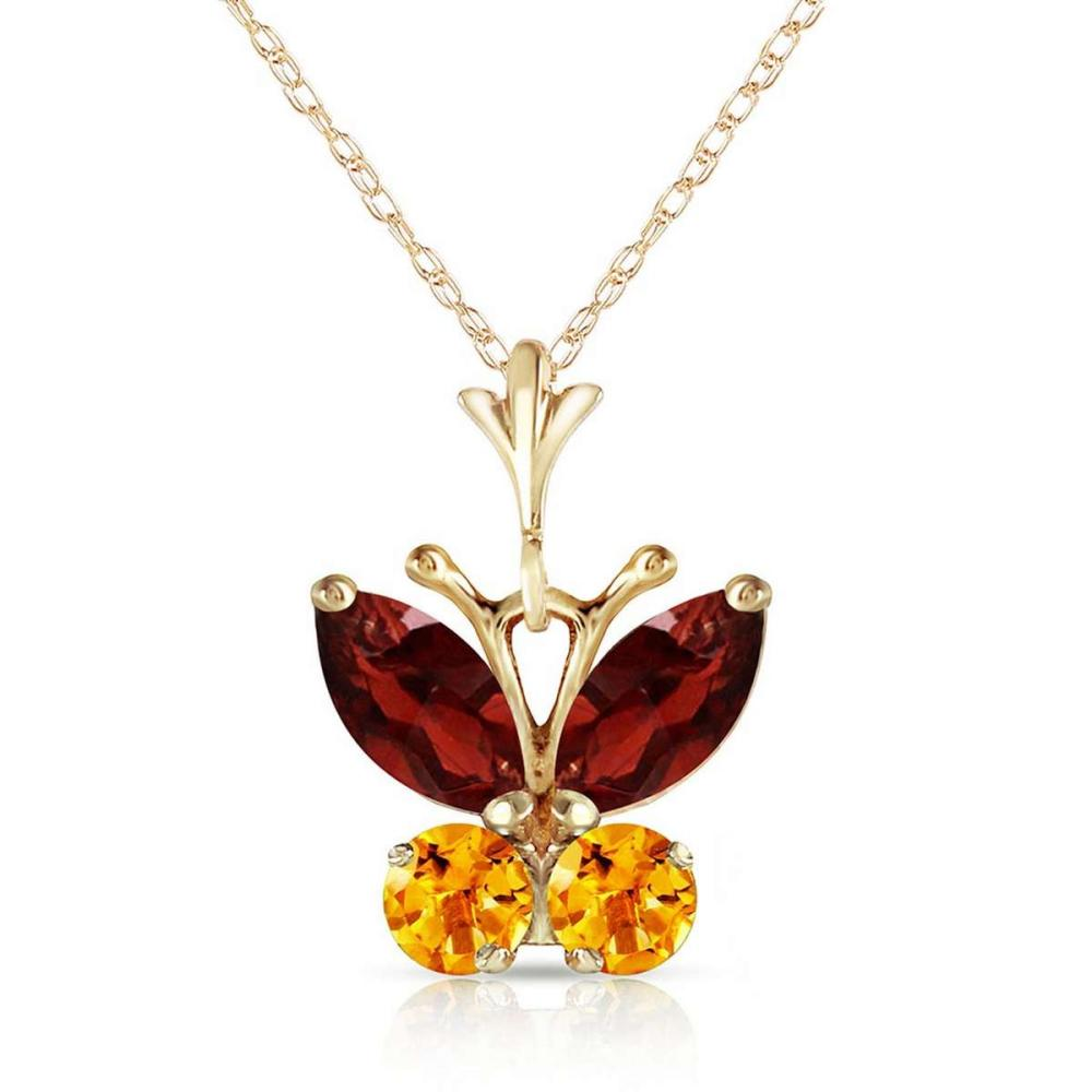 0.6 CTW 14K Solid Gold Butterfly Necklace Garnet Citrine #IRS92066