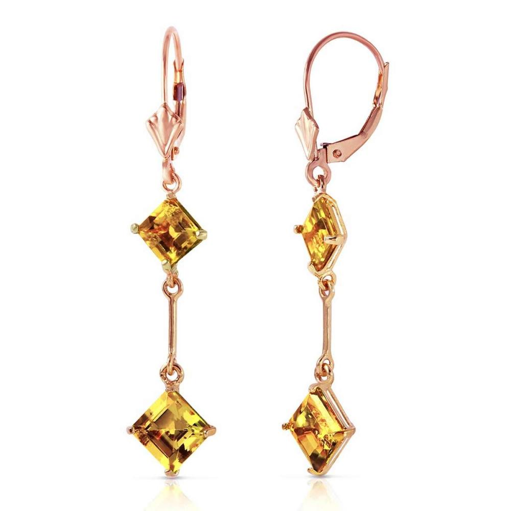 14K Solid Rose Gold Leverback Earrings with Citrines #IRS91629