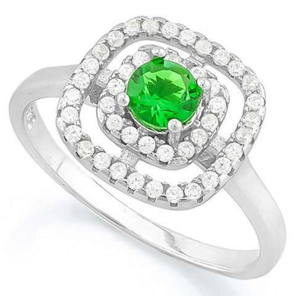 3/5 CARAT CREATED EMERALD  2/5 CARAT (44 PCS) FLAWLESS CREATED DIAMOND 925 STERLING SILVER HALO RING #IRS36281