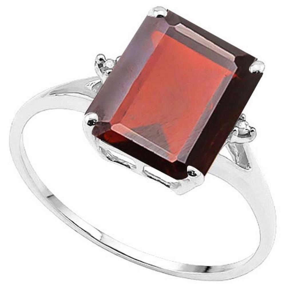 4.0 CTW GENUINE GARNET & GENUINE DIAMOND (2 PCS) 10KT SOLID WHITE GOLD RING #IRS50955