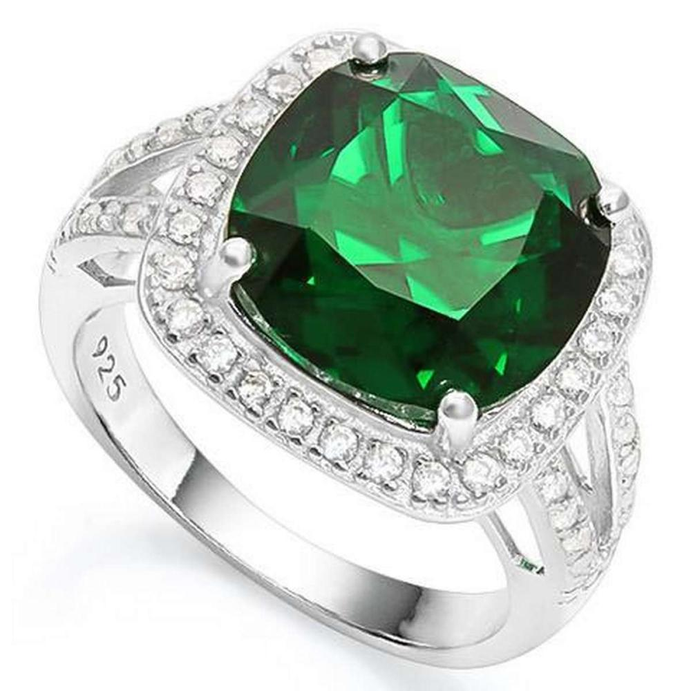 6 2/5 CARAT CREATED EMERALD  1/2 CARAT CREATED WHITE SAPPHIRE 925 STERLING SILVER RING #IRS36334