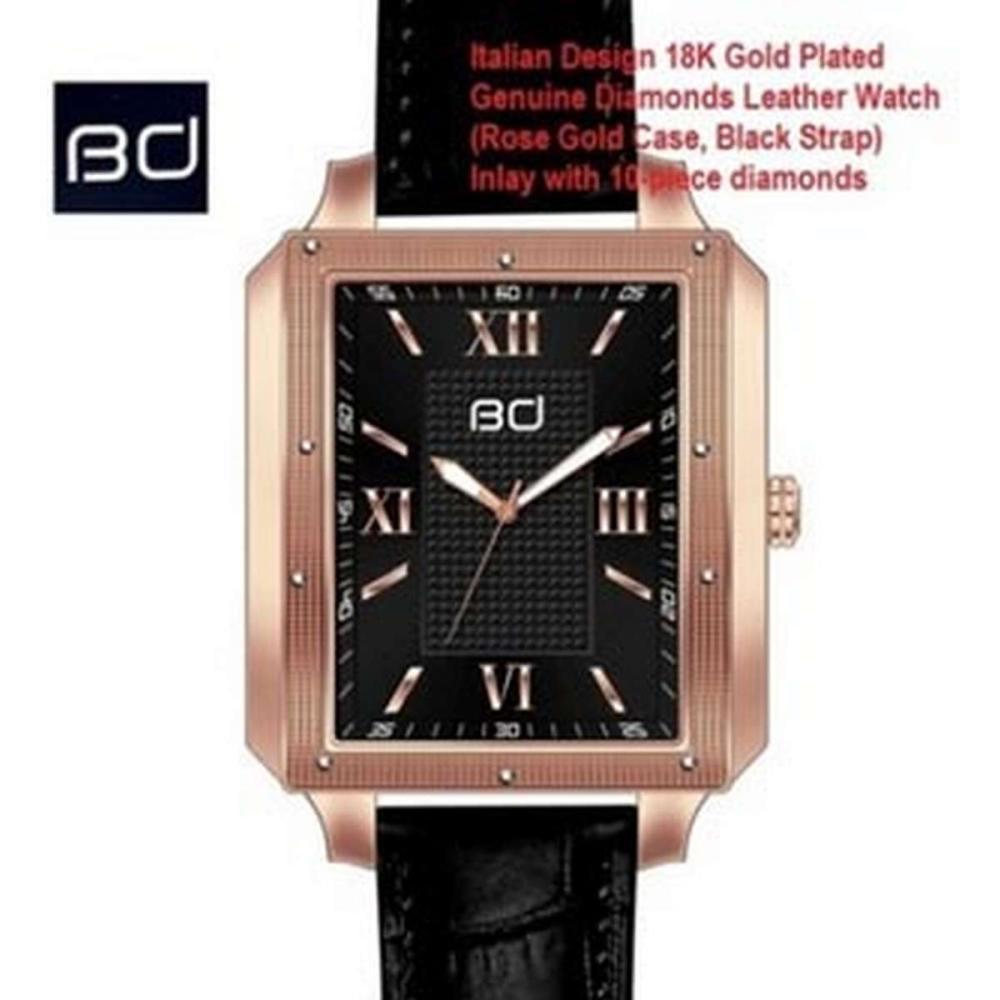 18K GOLD PLATED GENUINE DIAMOND WRIST WATCH #IRS45602