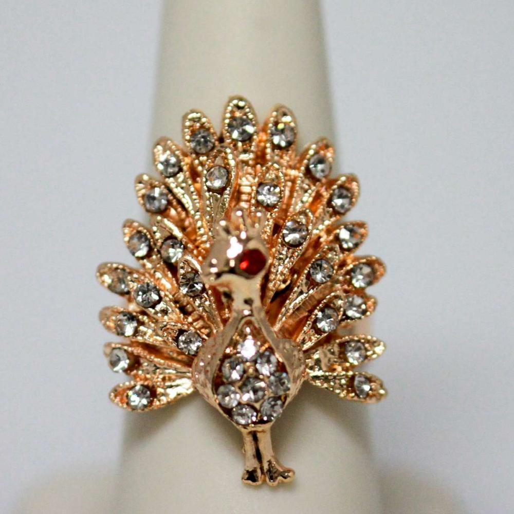 FASHION JEWELRY CZ AND RED CZ PEACOCK SHAPED BRASS RING #IRS47198