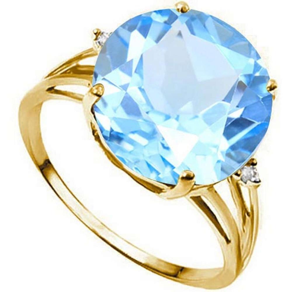 7.3 CTW GENUINE SKY BLUE TOPAZ & GENUINE DIAMOND (2 PCS) 10KT SOLID YELLOW GOLD RING #IRS57297