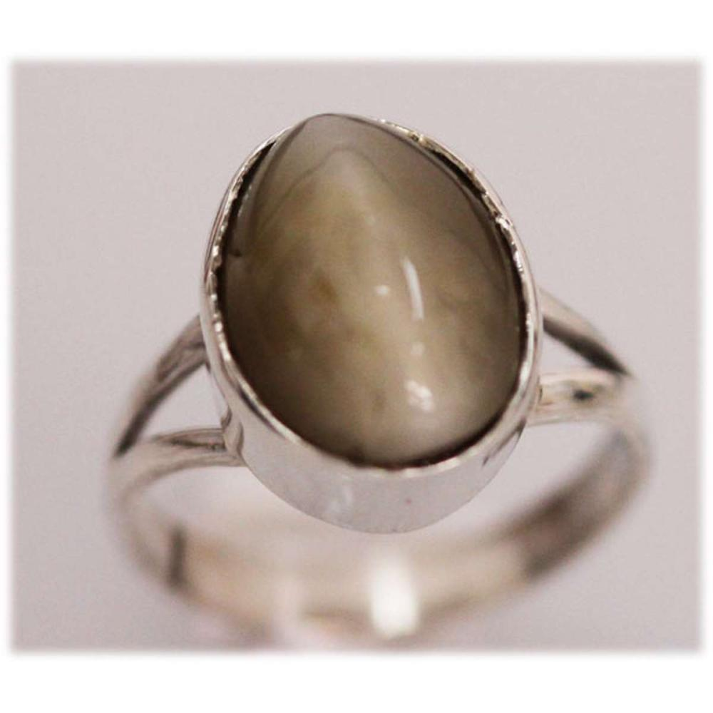 NATURAL 18.00 CTW CAT EYE OVAL RING .925 STERLING SILVE #IRS21280