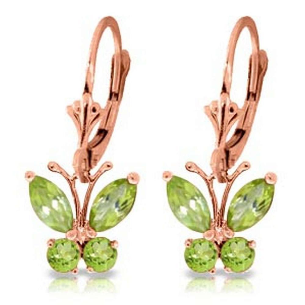 1.24 Carat 14K Solid Rose Gold Butterfly Earrings Peridot #IRS92082