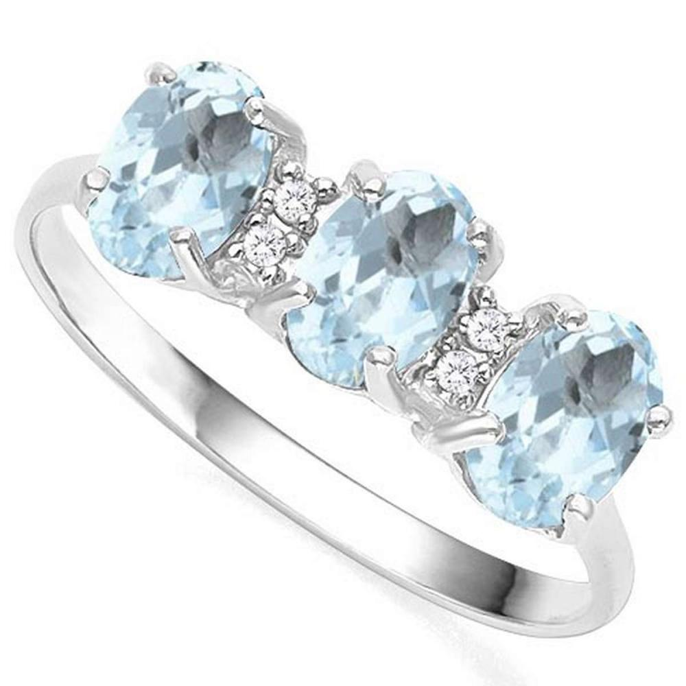 1.06 CTW GENUINE AQUAMARINE & GENUINE DIAMOND (4 PCS) 10KT SOLID WHITE GOLD RING #IRS50953