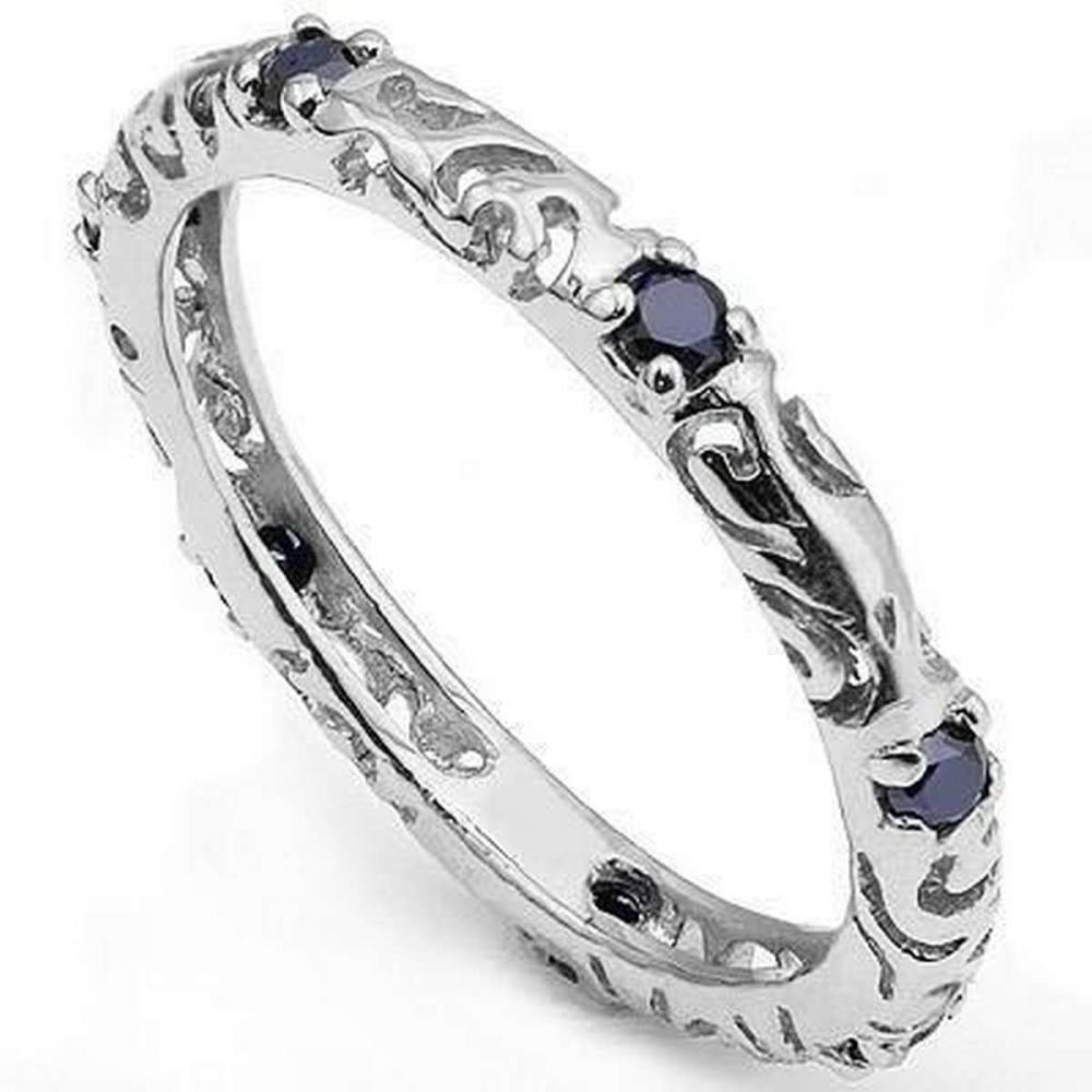 1/3 CT SAPPHIRE 925 STERLING SILVER RING #IRS36314