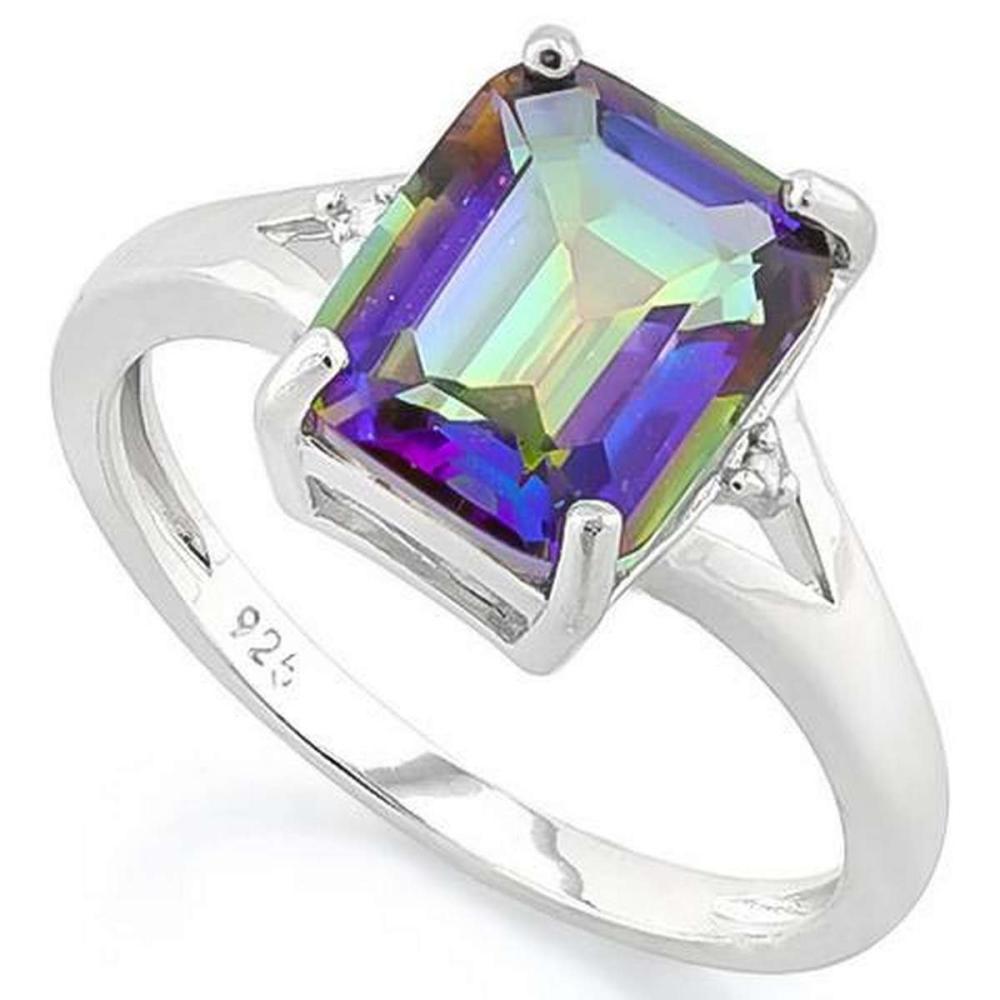 2 3/5 CARAT OCEAN MYSTIC GEMSTONE  DIAMOND 925 STERLING SILVER RING #IRS36278