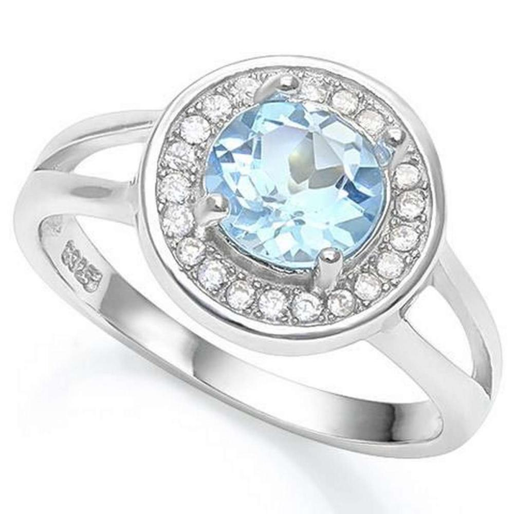 2 2/5 CT BABY SWISS BLUE TOPAZ  CREATED WHITE SAPPHIRE 925 STERLING SILVER RING #IRS36292