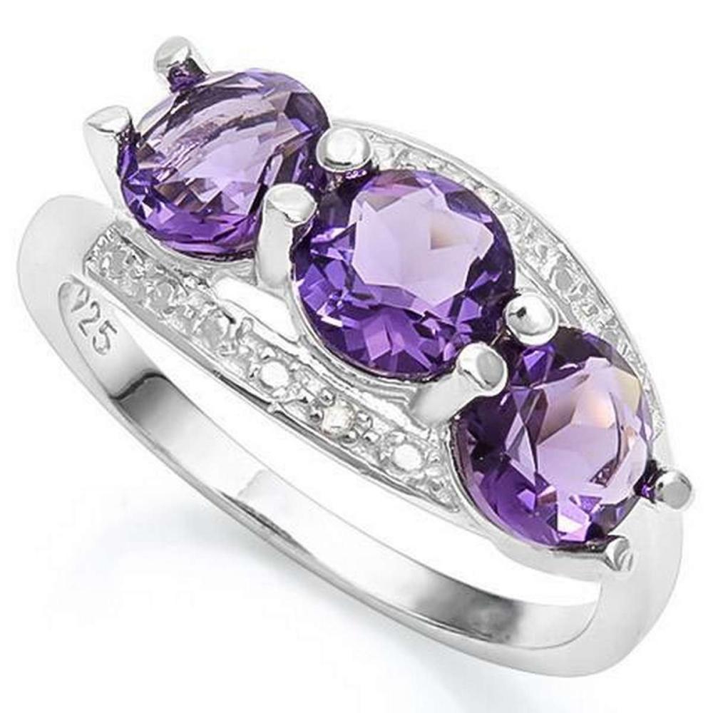 2 1/4 CARAT CREATED AMETHYST  GENUINE DIAMOND 925 STERLING SILVER RING #IRS36308