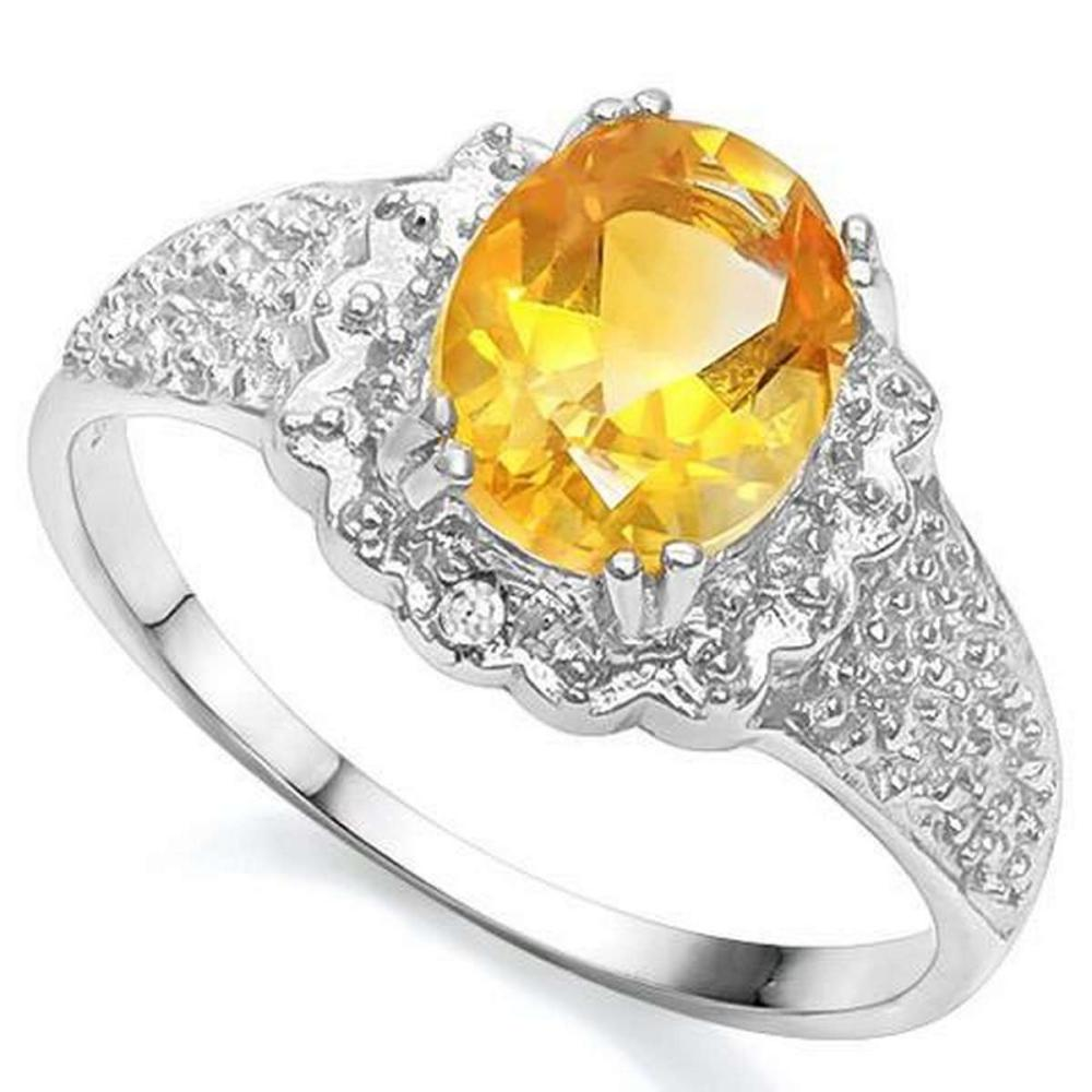 1 3/5 CT CITRINE  DIAMOND 925 STERLING SILVER RING #IRS36312