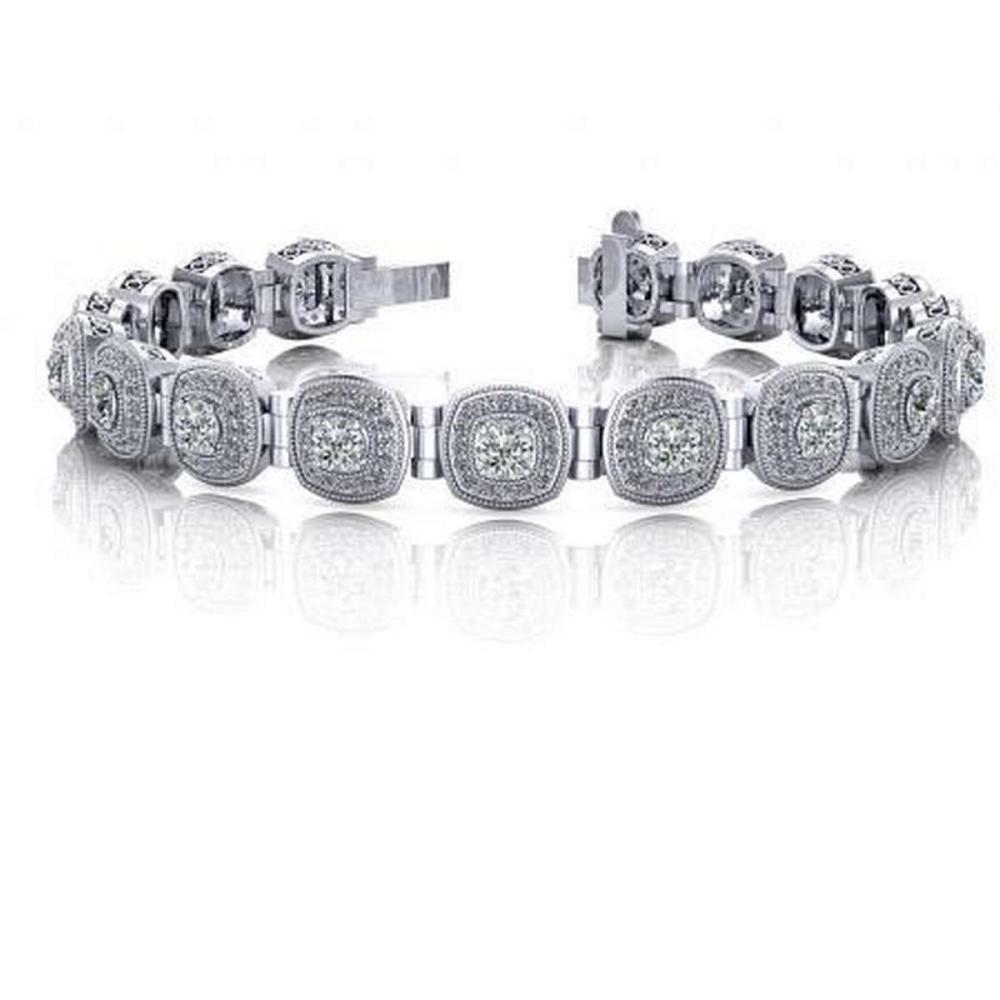 14KT WHITE GOLD 3 CTW G-H VS2/SI1 FANCIFUL ROUND DIAMOND BRACELET WITH TUBE LINKS #IRS20179