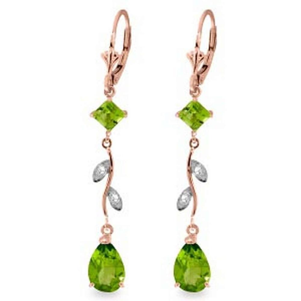 3.97 Carat 14K Solid Rose Gold Chandelier Earrings Diamond Peridot #IRS91671