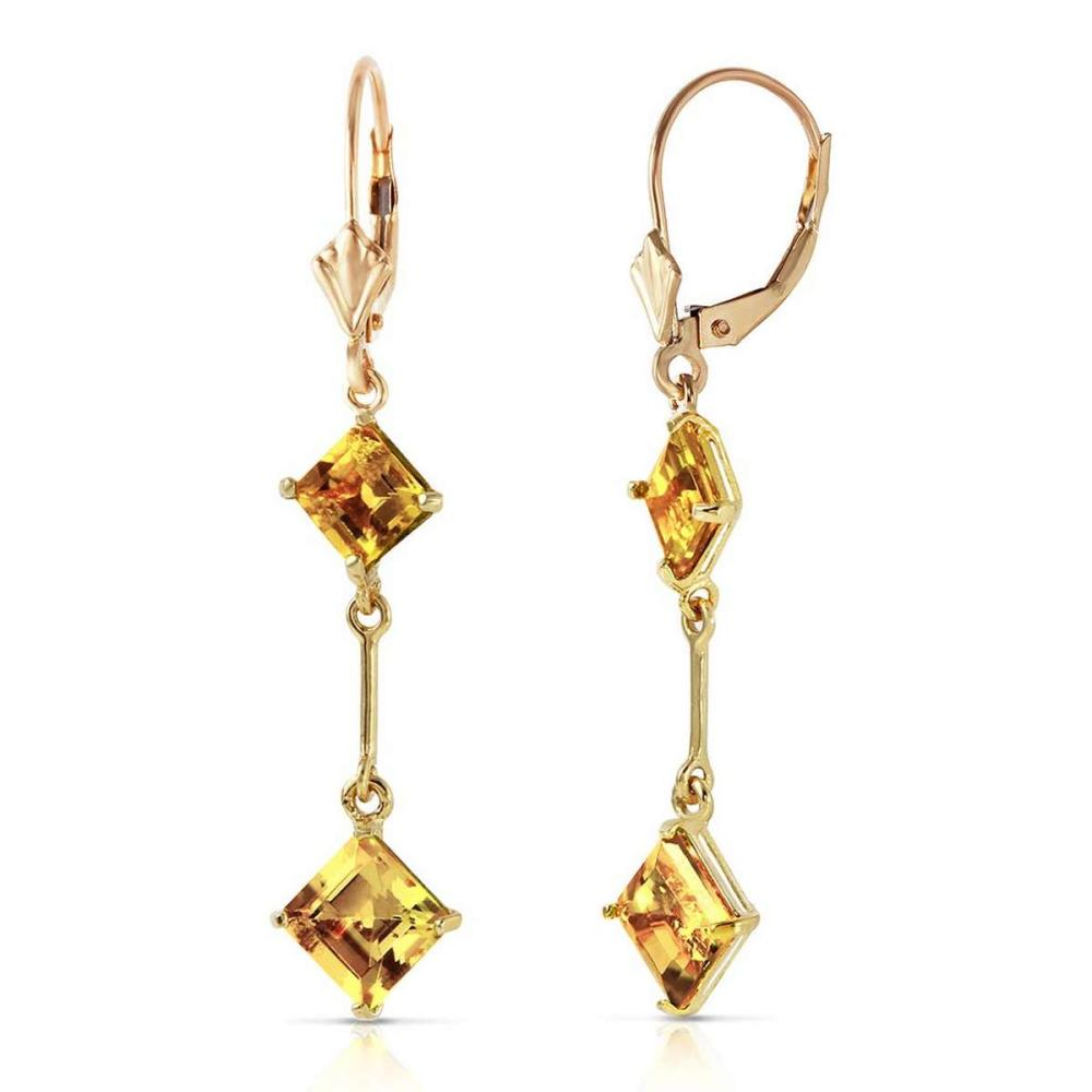 3.75 CTW 14K Solid Gold Leverback Earrings Citrine #IRS91631
