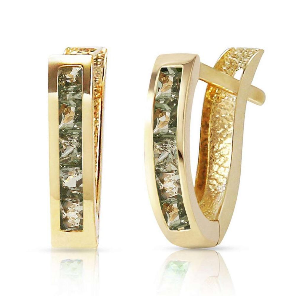 1.3 Carat 14K Solid Gold Huggie Earrings Green Natural Sapphire #IRS92087