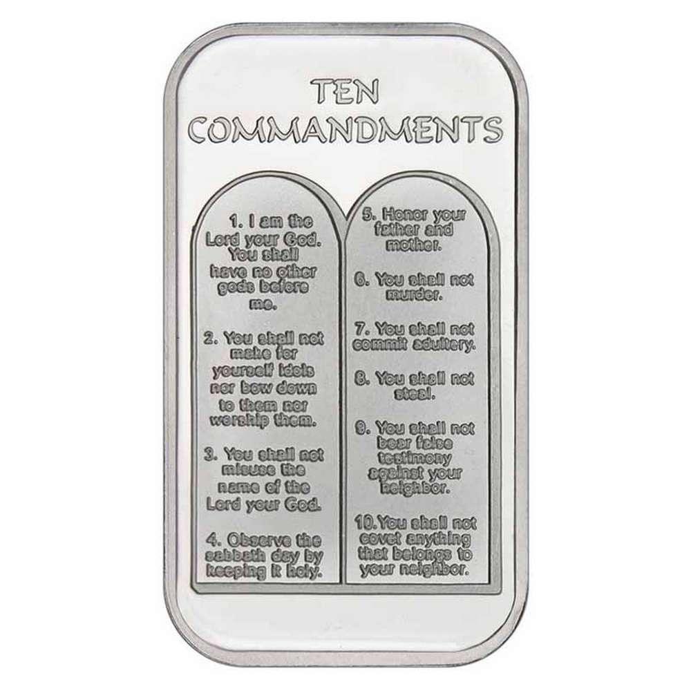 Ten Commandments 999 Silver 1 Oz Bar Irs78979