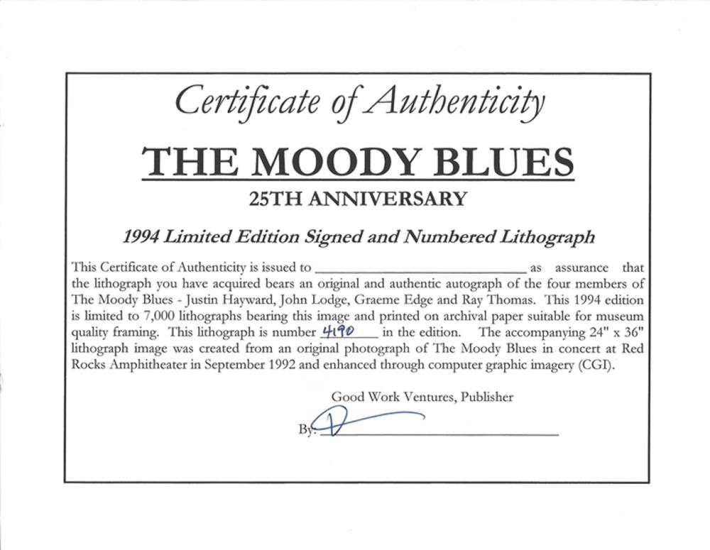 Moody Blues Band Signed 25th Anniversary Limited Edition Lithograph