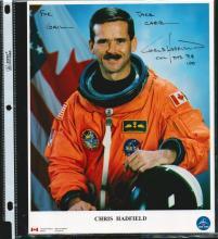 CHRIS HADFIELD SIGNED 8 X 10 NASA PHOTOGRAPH