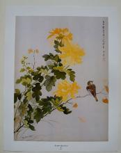 CHINESE  PRINT BIRD WITH FLOWER