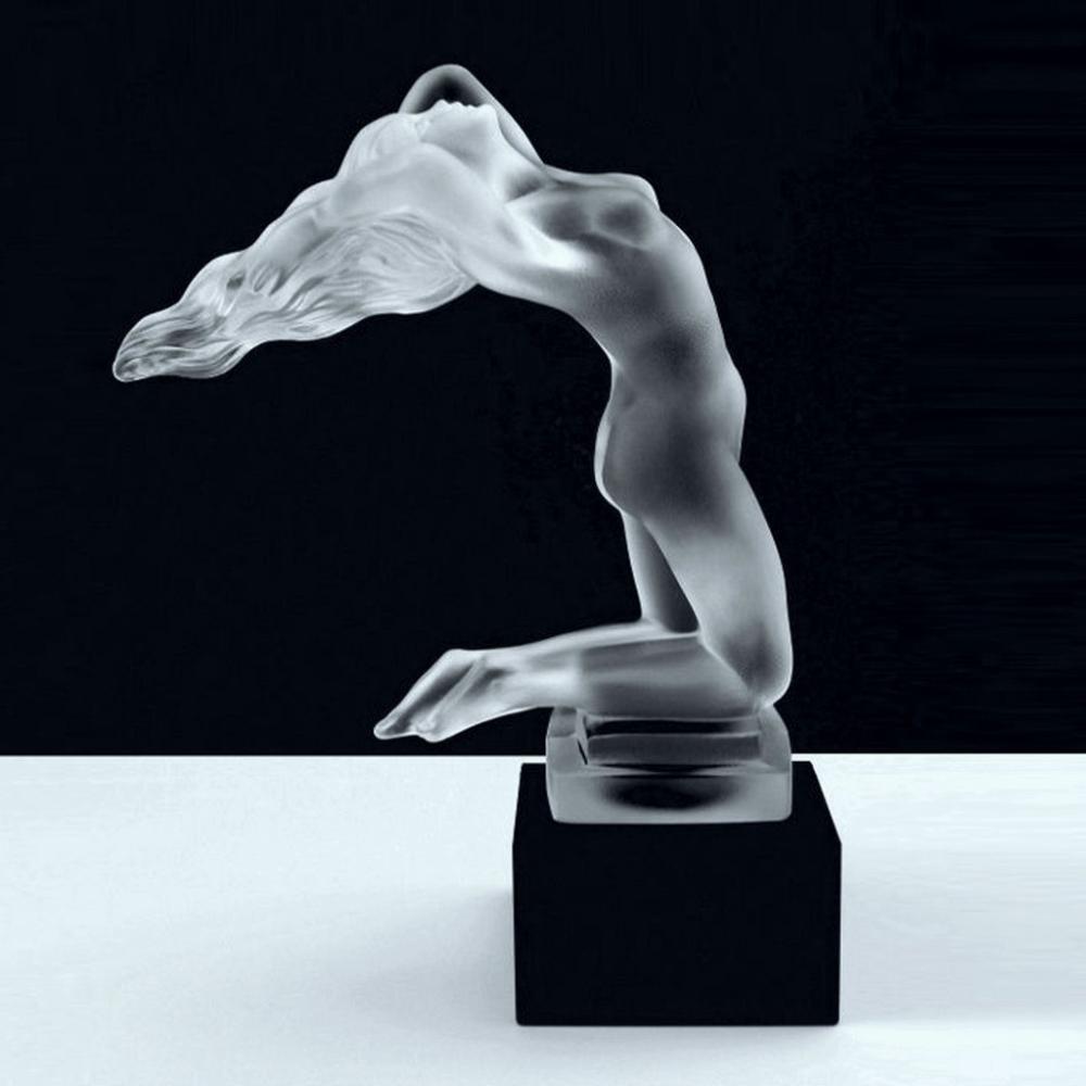 Art Deco Glass Figural Sculpture ' Chrysis ' Nude Lady Bohemian Hood Ornament 1930' H.Hoffmann by Lalique