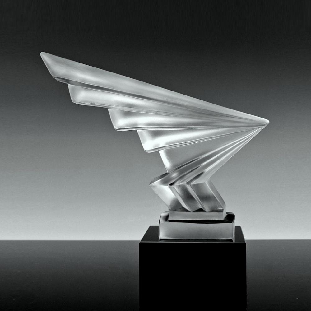 Art Deco Glass Car Mascot ' Flash ' Decorative Cut Crystal Bohemian Hood Ornament 1930's H.Hoffman by Lalique
