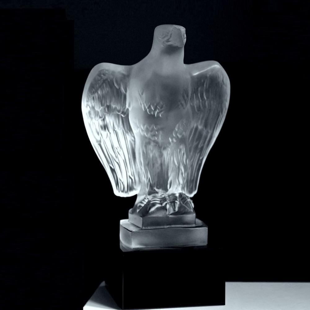 Bohemian Art Deco Glass Figural Sculpture ' American Eagle ' Crystal Hood Ornament 1930' H.Hoffmann by Lalique