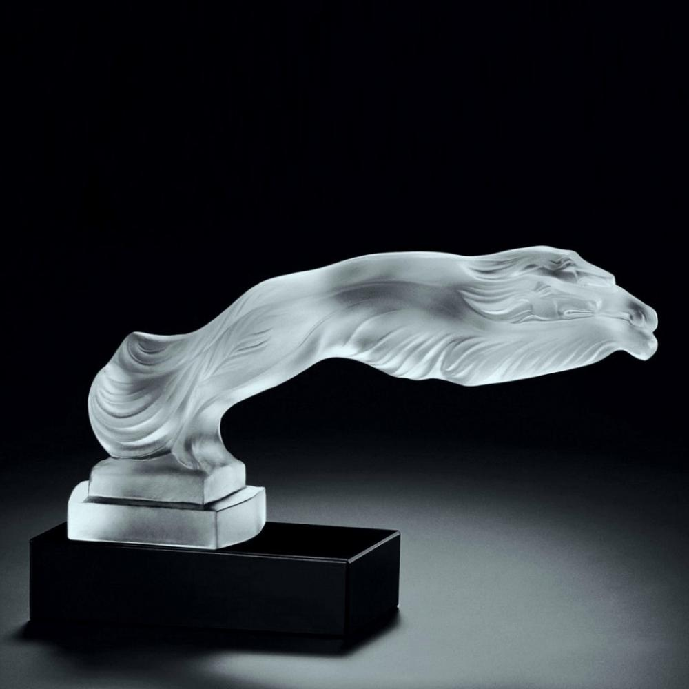 Art Deco Glass Figural Sculpture ' Greyhounds ' Crystal Hood Ornament 1930' H.Hoffmann by Lalique