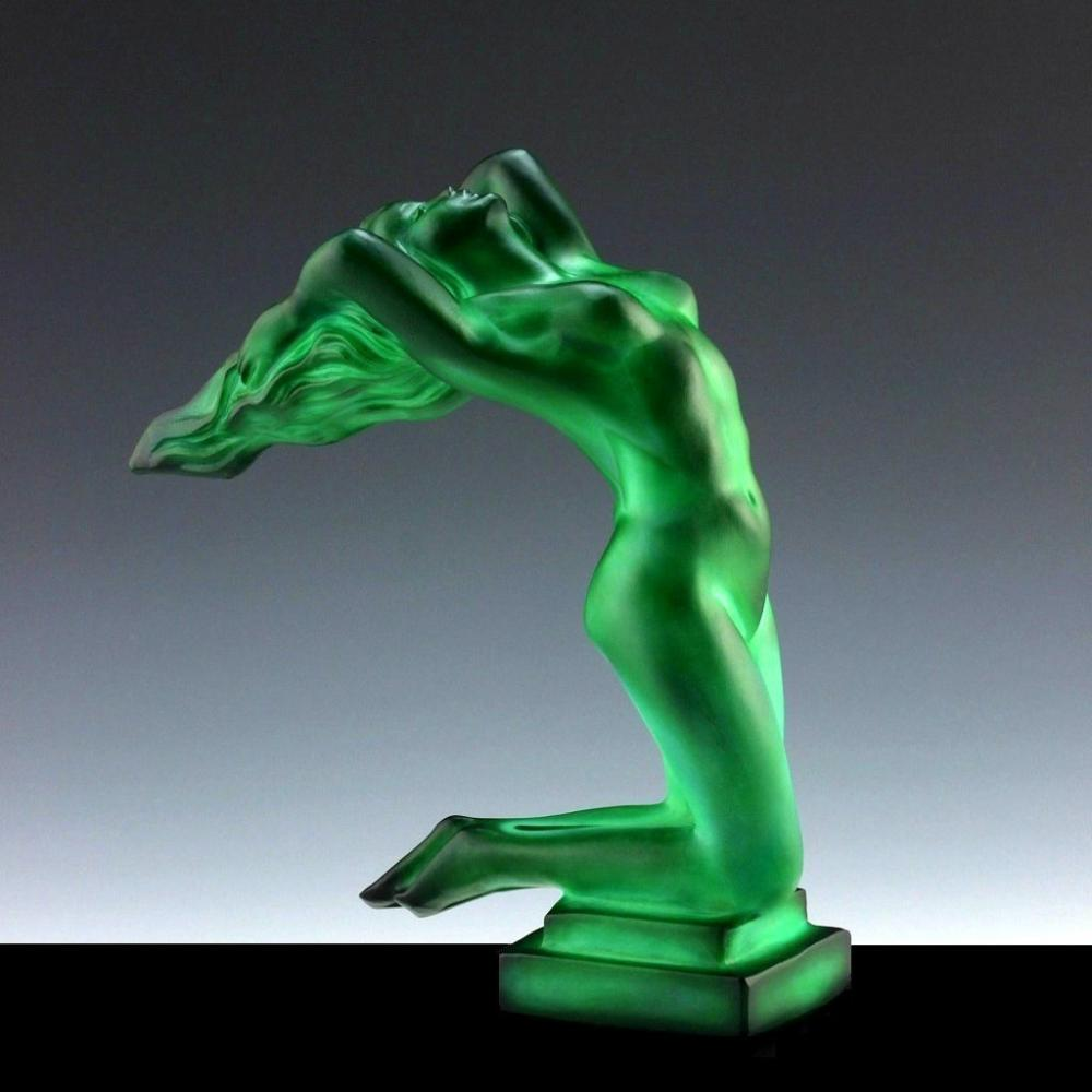 Bohemian Art Deco 1930' Jade Malachite Hood Ornament ' Chrysis ' Car Mascot Figurine